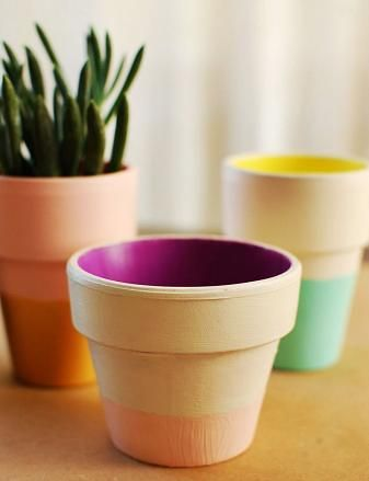 Colorblock Terra Cotta Pots_A Beautiful Mess